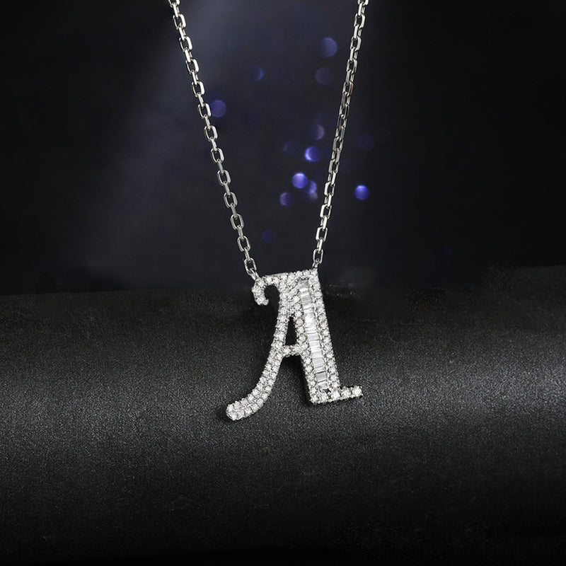 Letter A Created White Diamond Pendant Necklace