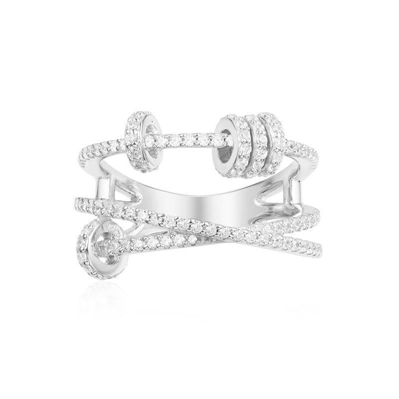 Criss Cross Created Diamond Sterling Silver Ring