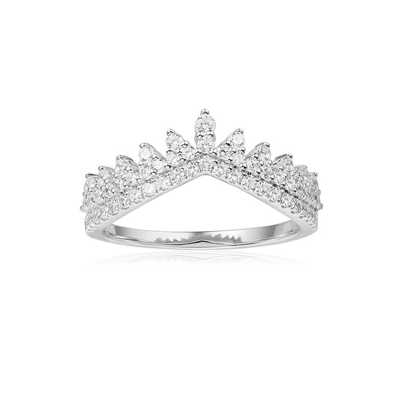 S925 Sterling Silver High End Micro Inlaid Diamond Tooth Lace Crown Ring