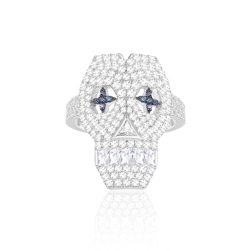 Sterling Silver Created Diamond Skull Element Ring