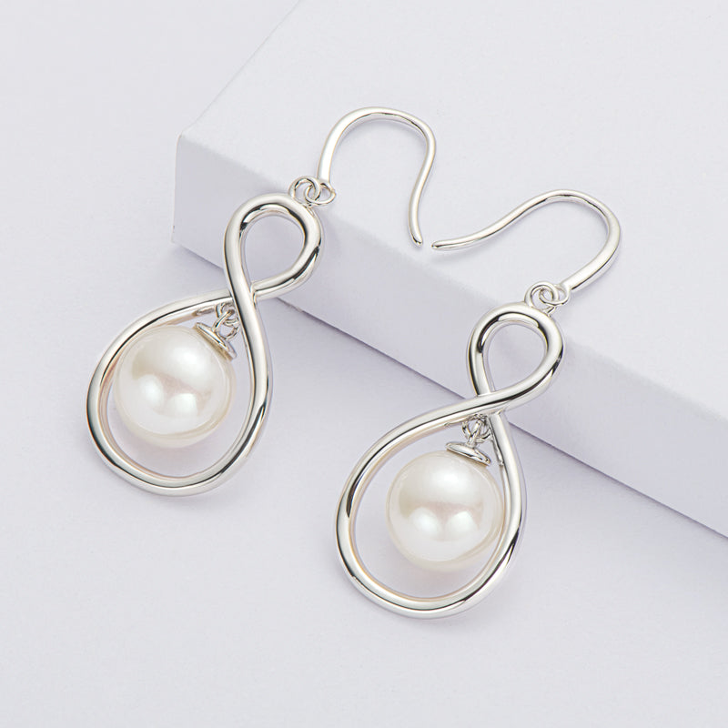 8.5-9mm Natural Freshwater White Pearl Infinity Hook Earrings