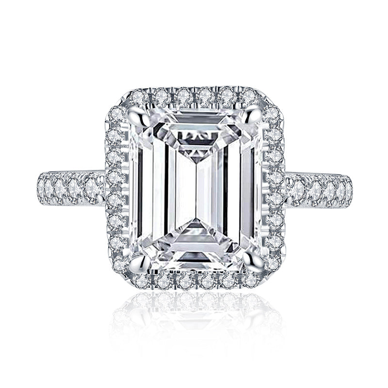 Halo Emerald Cut Created White Diamond Ring