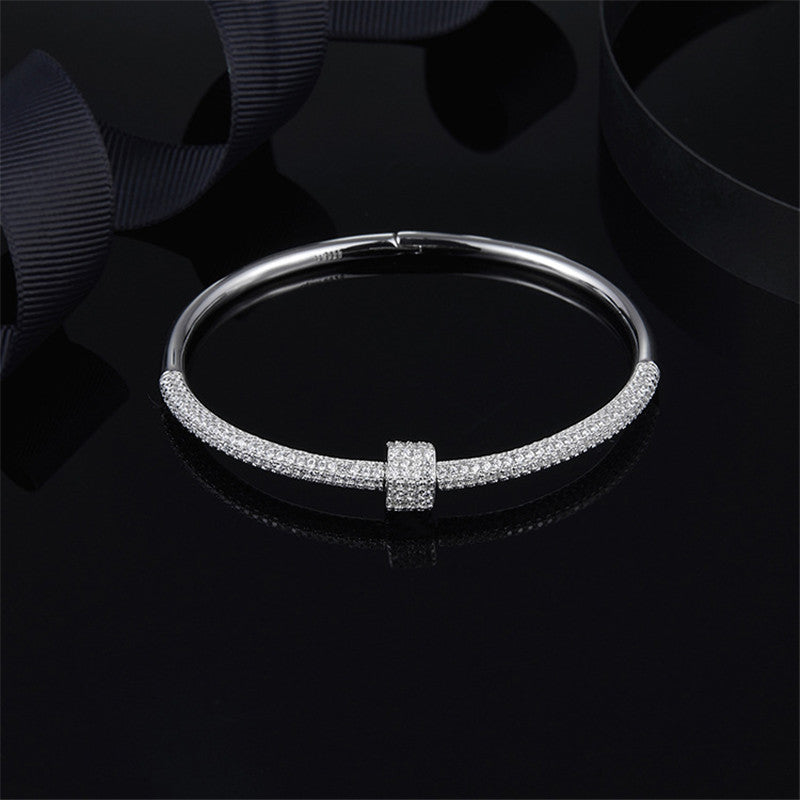 Fashion Drill Screw Geometric Bracelet Sterling Silver Bangle