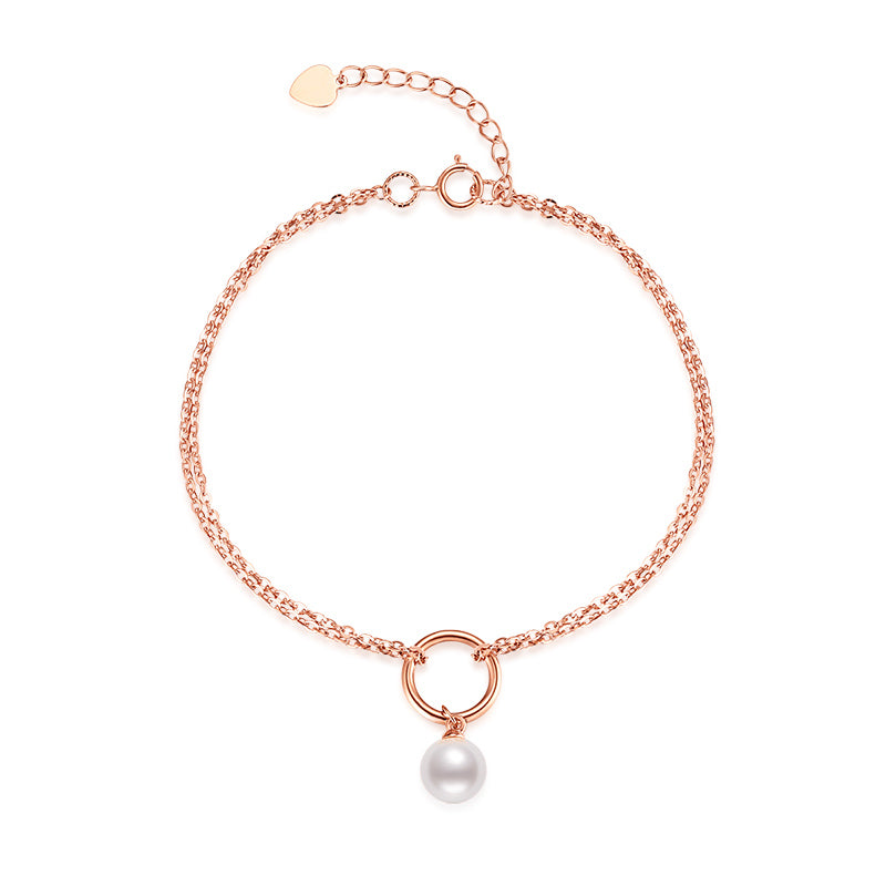 18K Rose Gold Freshwater Pearl Adjustable Bracelet