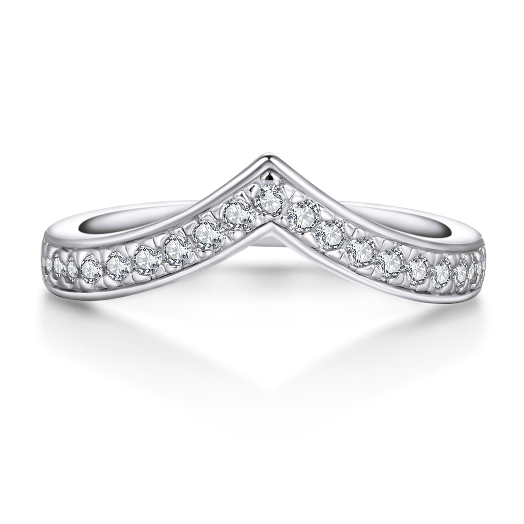 V-shaped Design Created White Diamond Ring