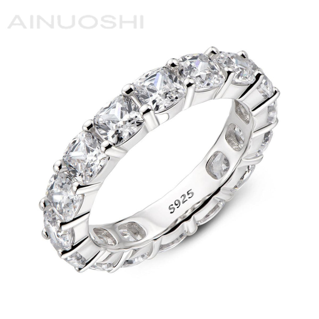 Full Eternity Cushion Cut Created White Diamond Ring