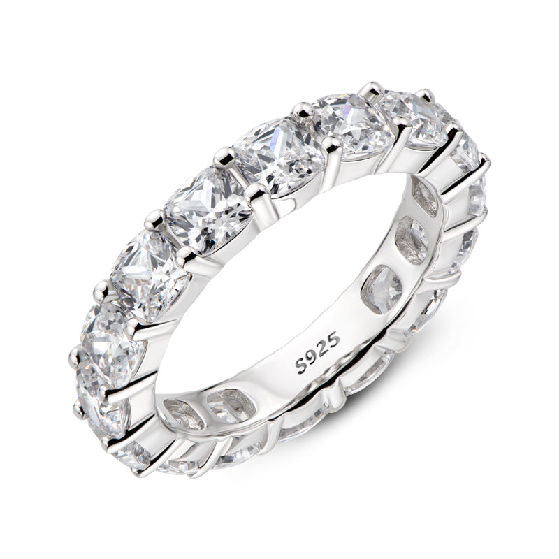 Cushion Cut Natural Moissanite Full Eternity Ring