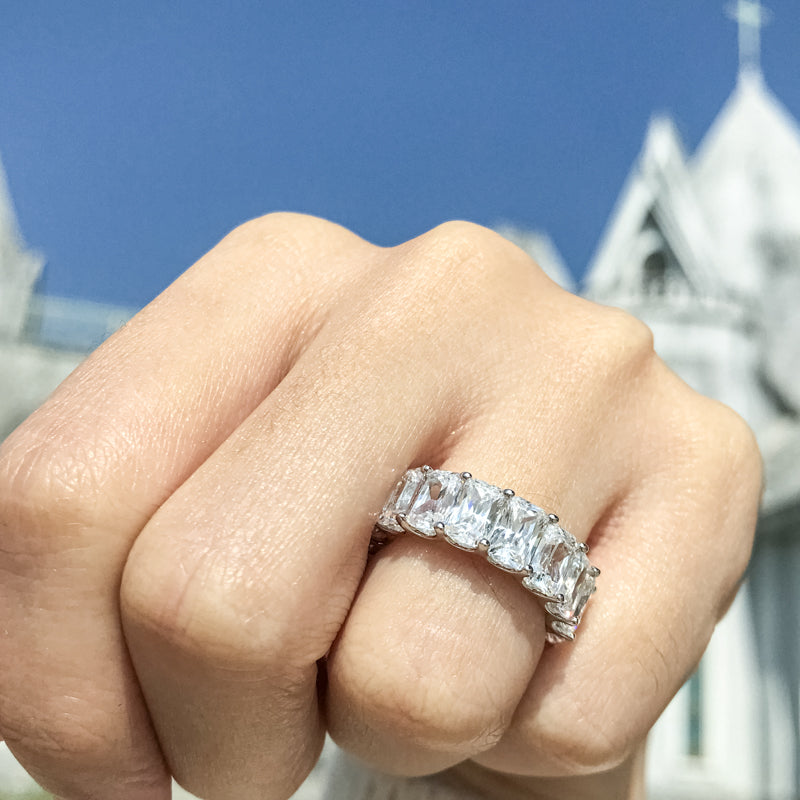 Radiant Cut Full Eternity Created White Diamond Ring