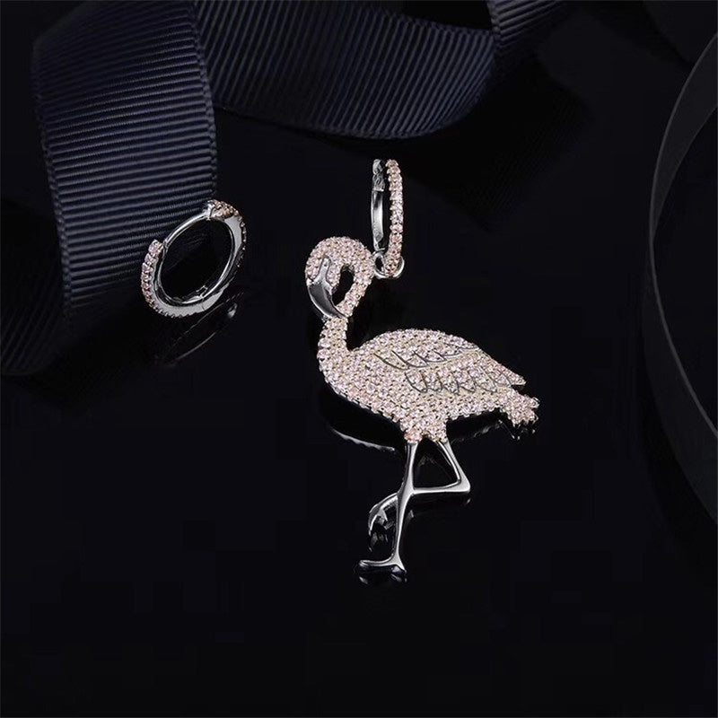 Flamingo Design Sterling Silver Created Diamond Earrings