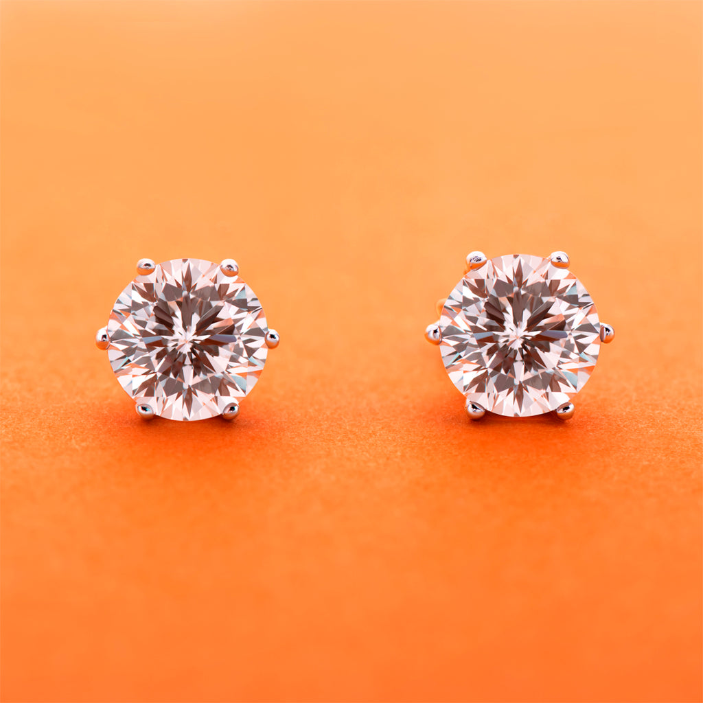 Six Prong Round White Created Diamond Stud Earrings