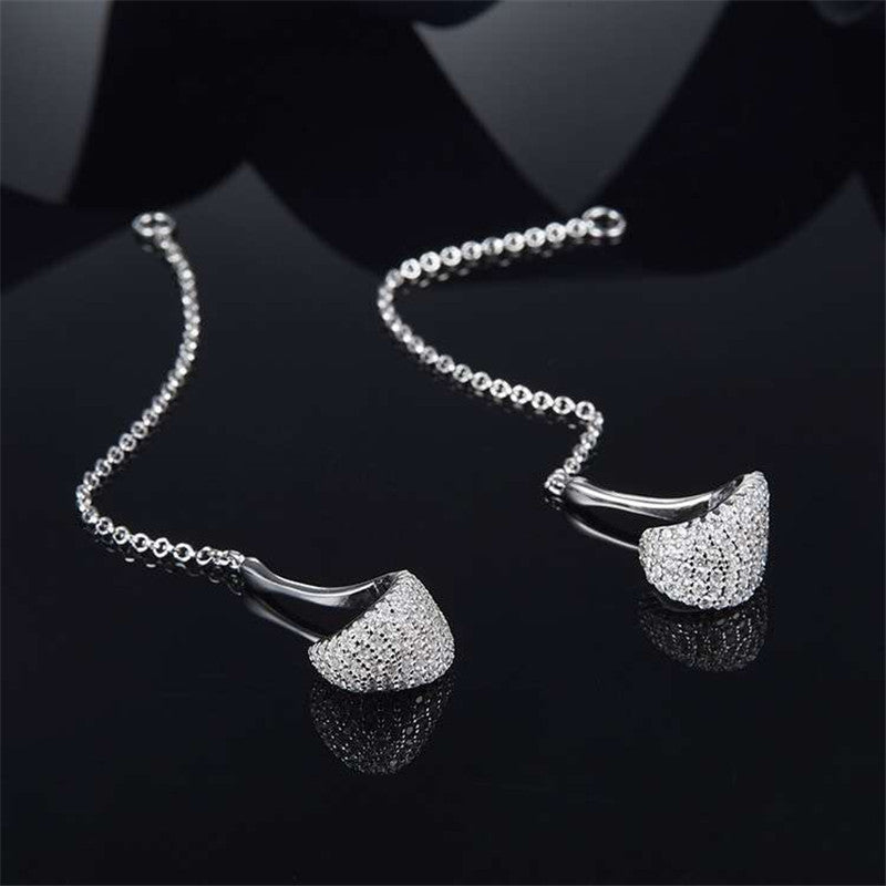 Sterling Silver Created Diamond Pendant Earrings
