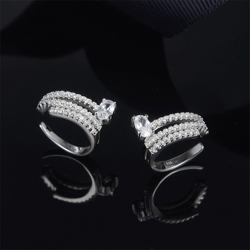 White Sterling Silver Created Diamond Hoop Earrings