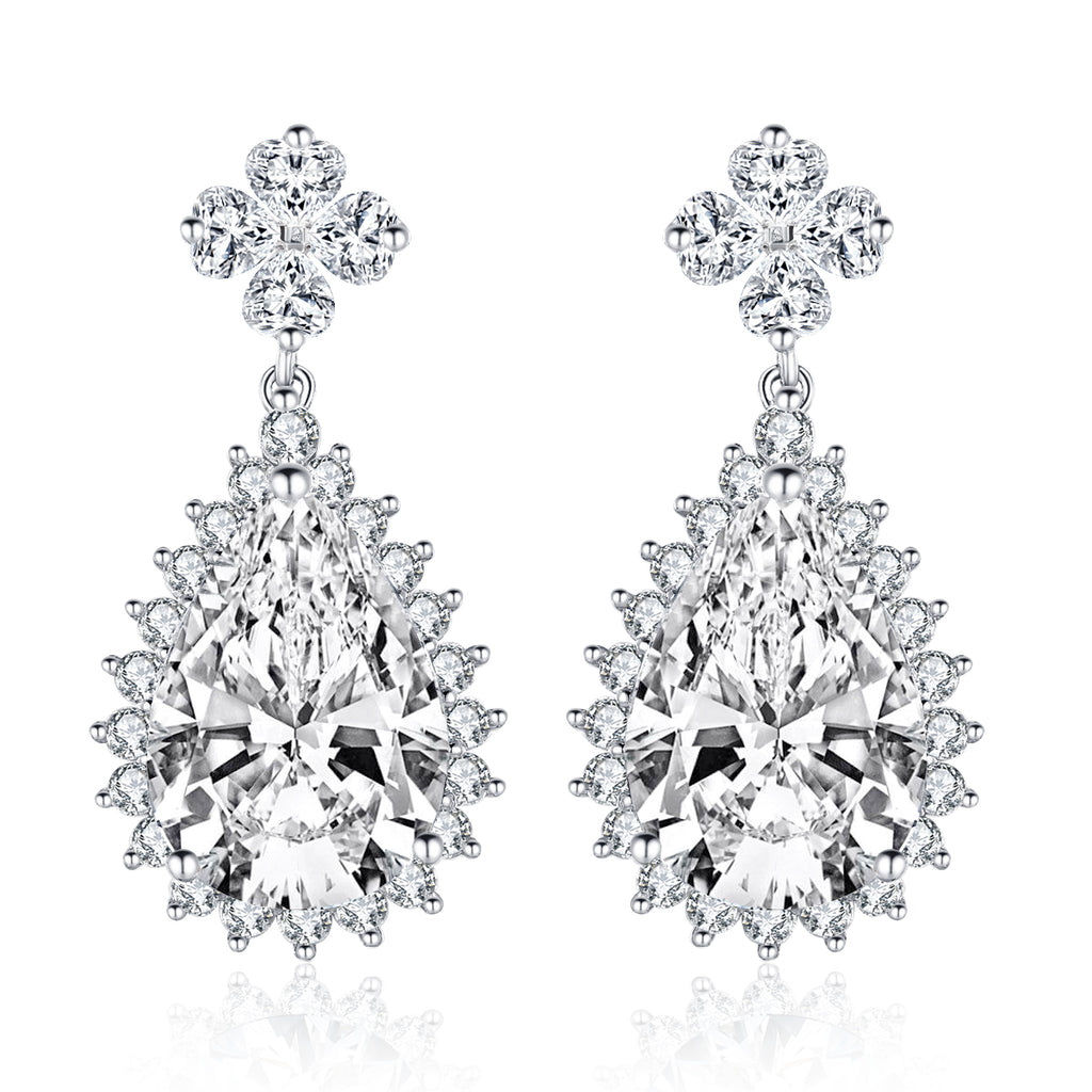 Luxury Pear Created White Diamond Drop Earrings