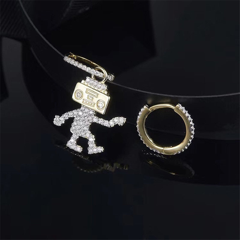 Cartoon Figure Design Sterling Silver Created Diamond Pendant Earrings