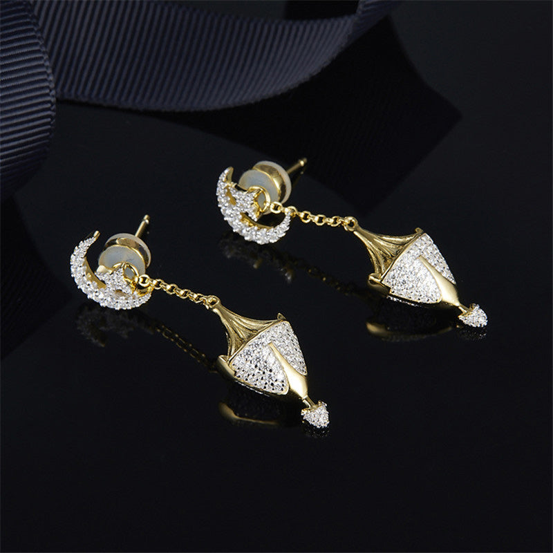 Hand Lantern Yellow Gold Color Sterling Silver Drop Stud Earrings