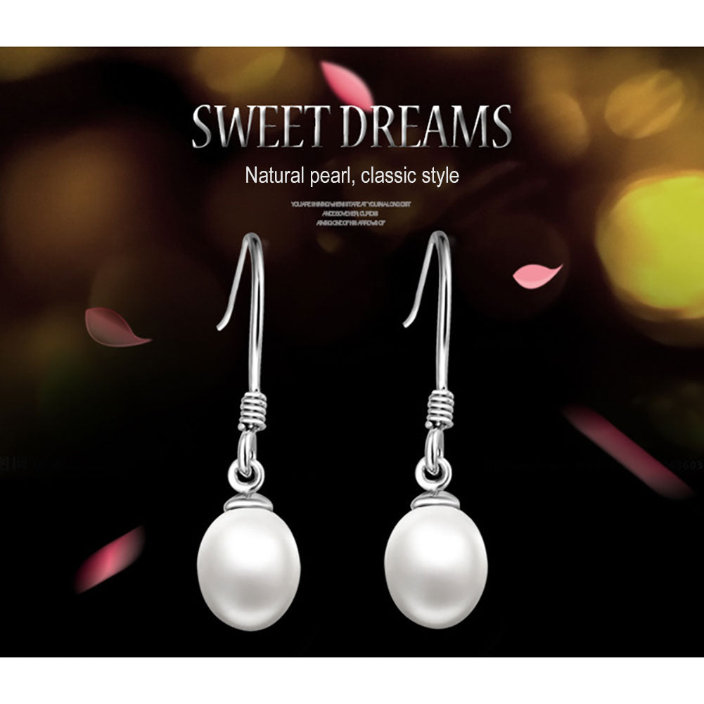 925 Sterling Silver Pearl Hook Earrings
