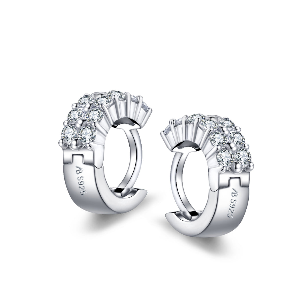 Round Created White Diamond Hoop Earrings