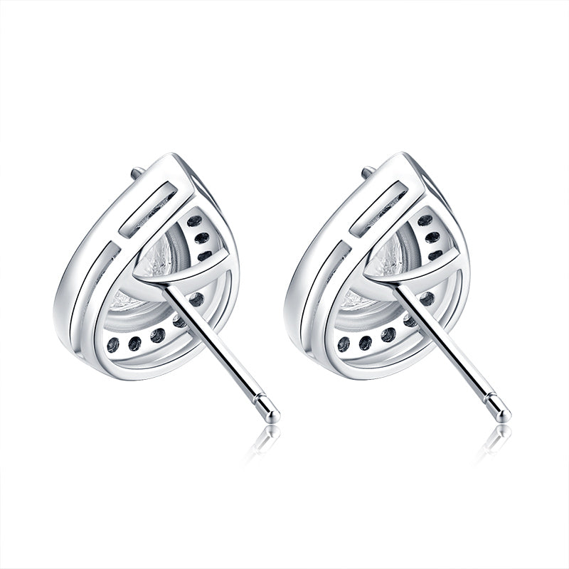 925 Sterling Silver Pear Shaped Stud Earrings