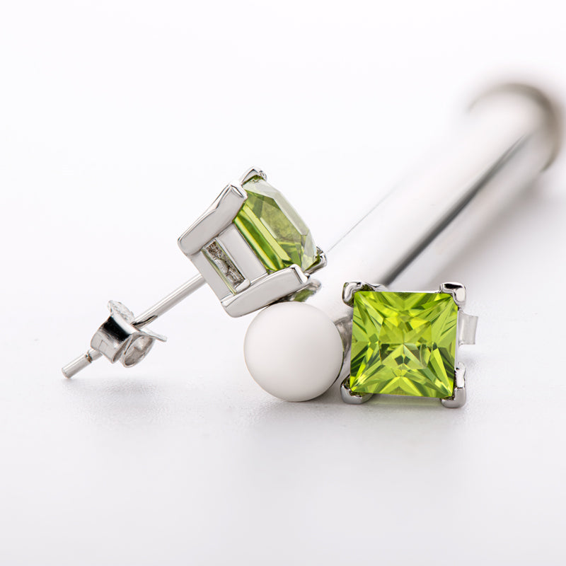 6mm Sterling Silver Princess Genuine Peridot Stud Earrings
