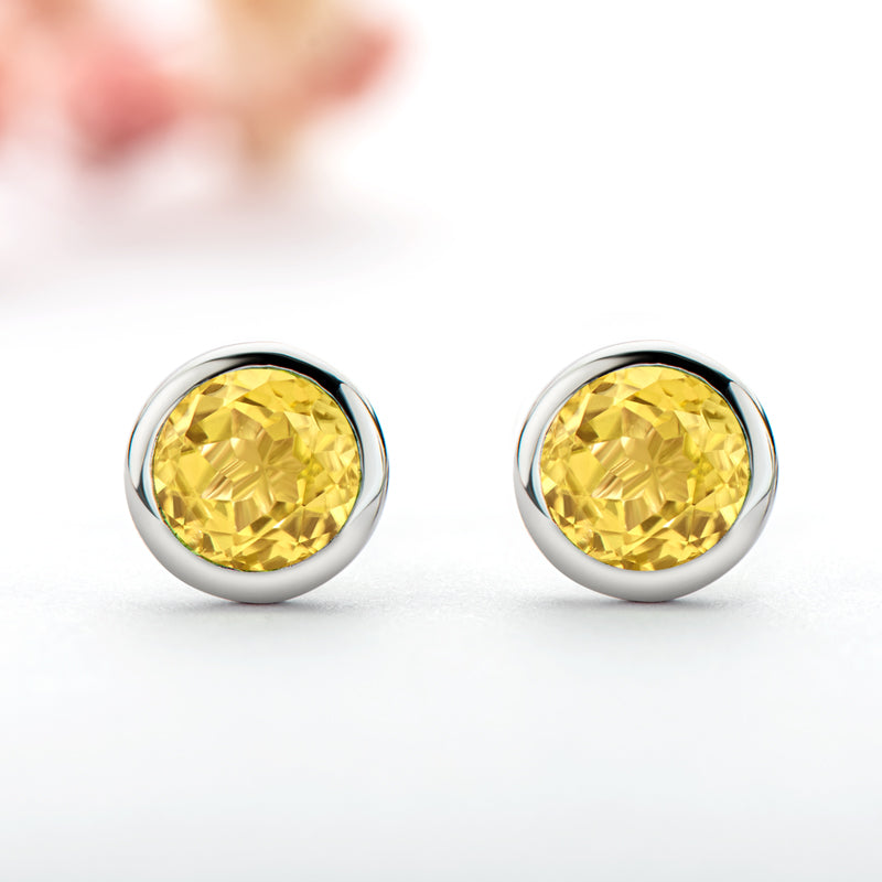 6mm Round Genuine Gmestone Citrine Stud Earrings