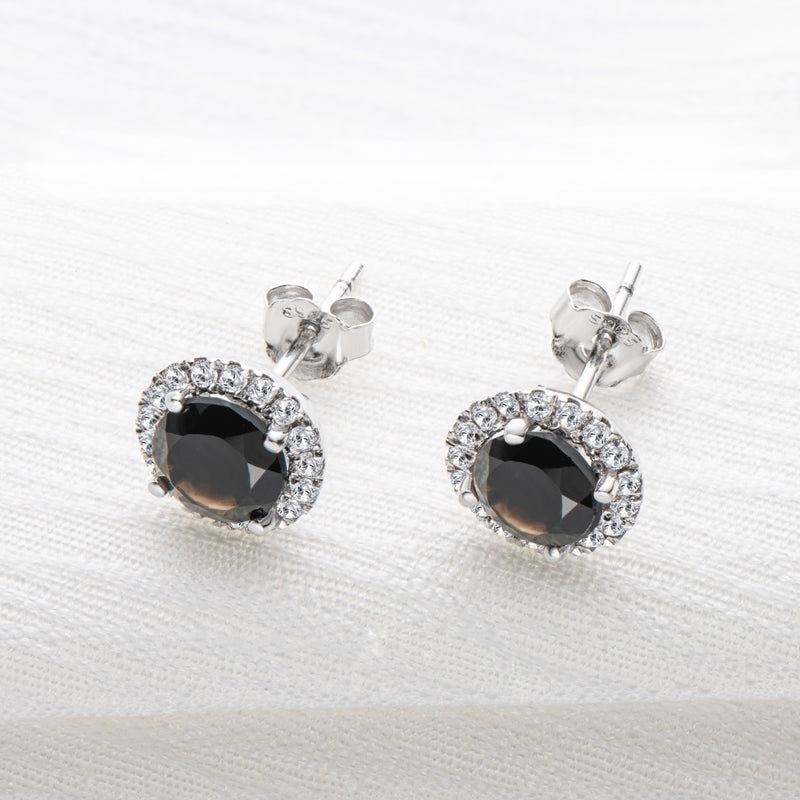Sterling Silver 6mm Round Black Onyx Halo Stud Earrings