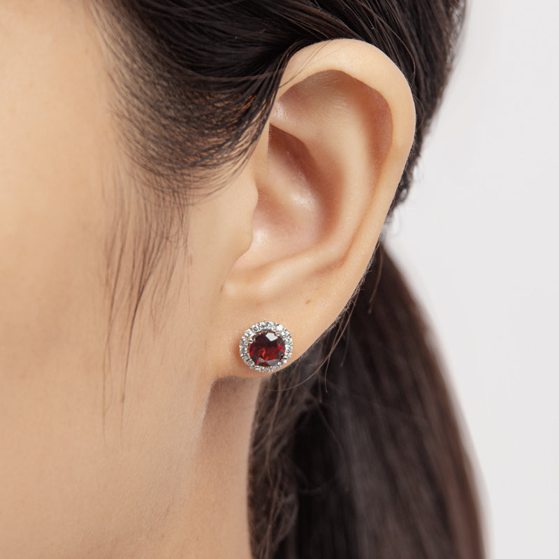 Sterling Silver 6mm Genuine Garnet Halo Stud Earrings