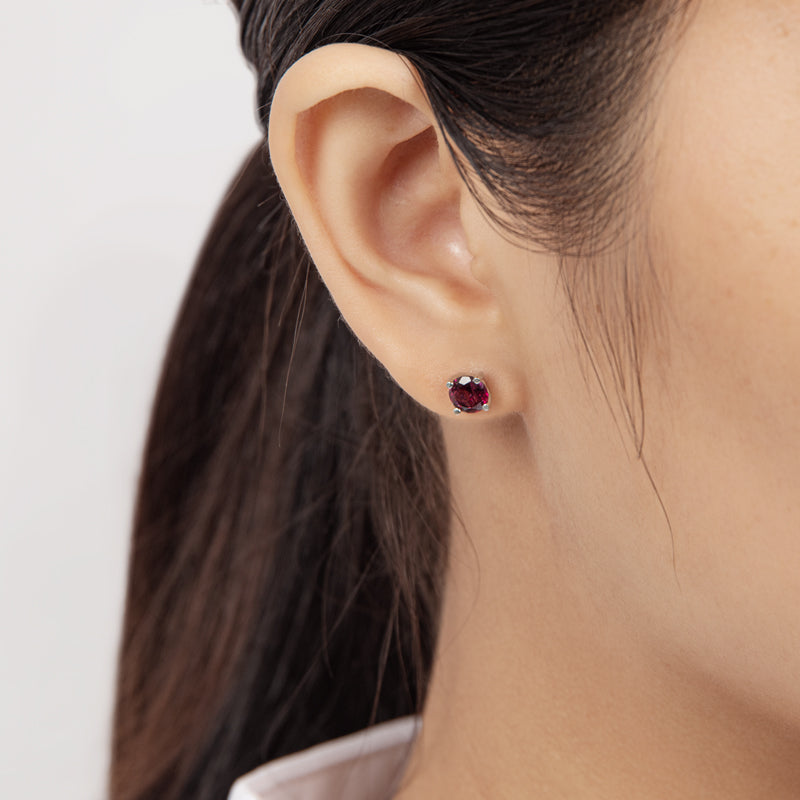 6mm Round Cut Gmestone Natural Garnet Stud Earrings