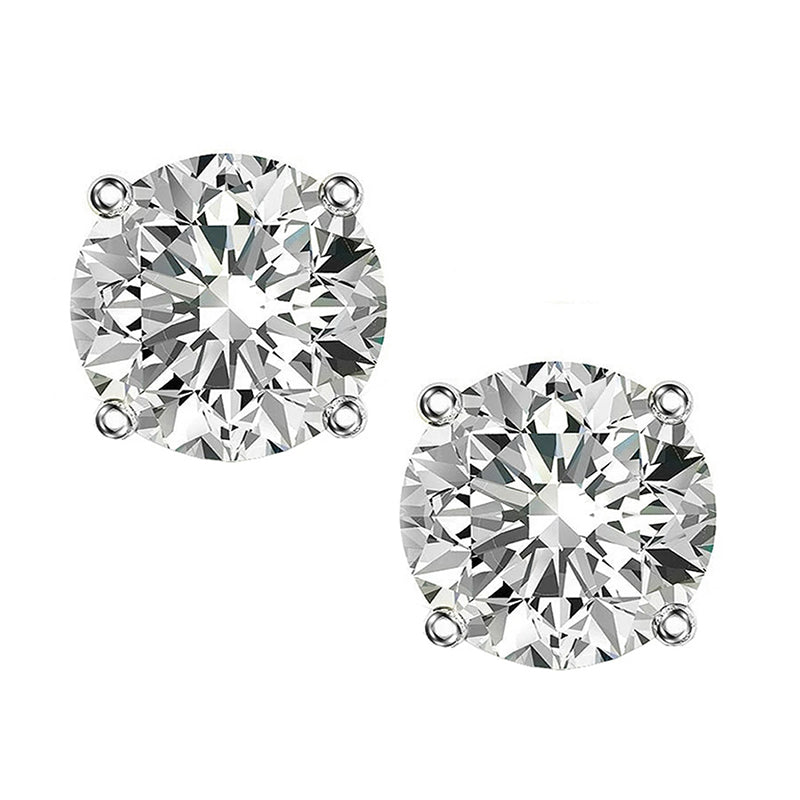 Round Cut Created White Diamond Stud Earrings