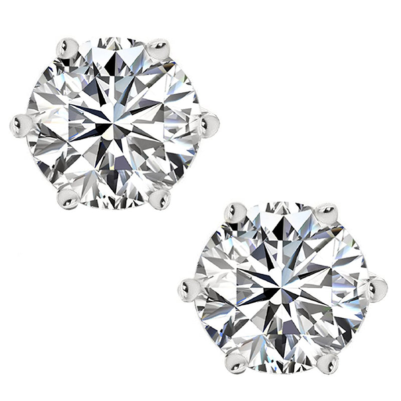 Round Cut Natural Moissanite Diamond Earrings