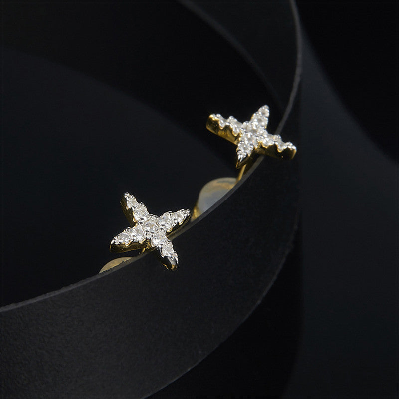Star Design Sterling Silver Created Diamond Earrings