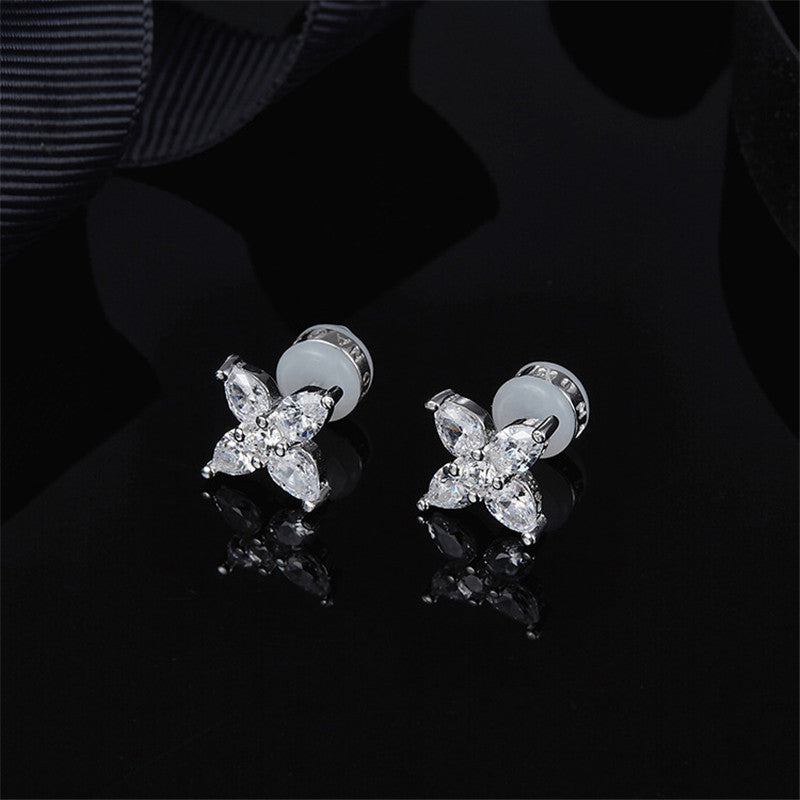 Star Design Sterling Silver Created Stud Earrings