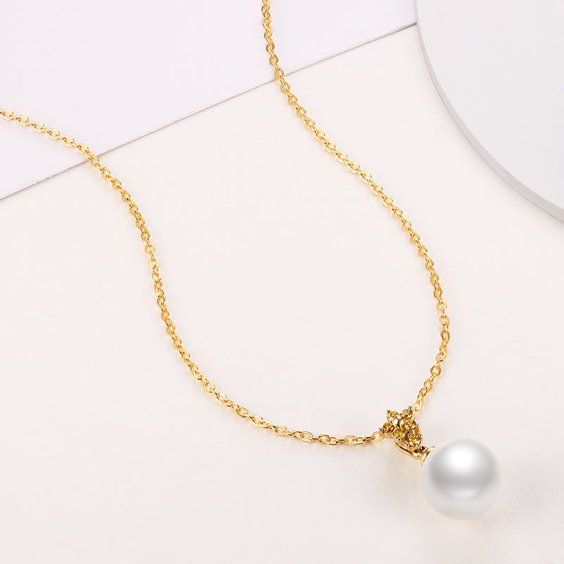 18K Yellow Gold Diamond Freshwater Pearl Pendant Necklace