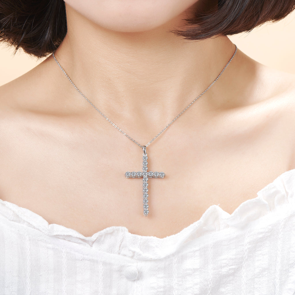 Classic Christian Cross Created Diamond Pendant Necklace