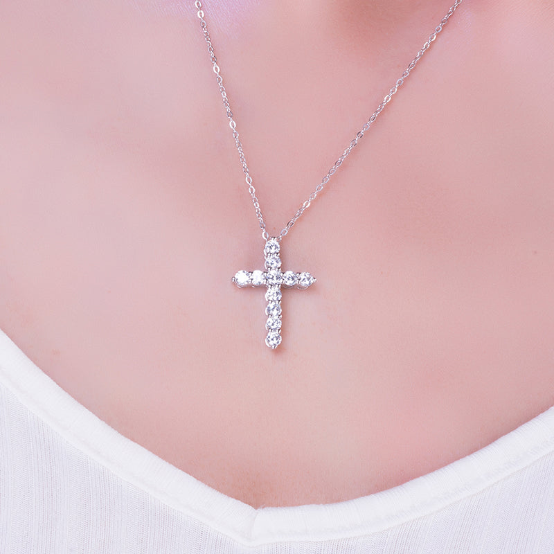 Cross Design Pendant Necklace (1.10 CT. TW.)