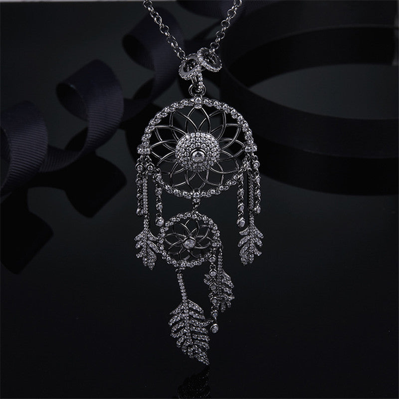 Dainty Sterling Silver Dream Catcher White Created Diamond Pendant Necklace