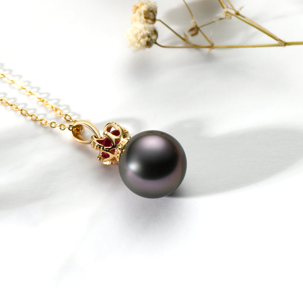 18K Gold Royal Crown Ruby Black Tahiti Pearl Pendant Necklace