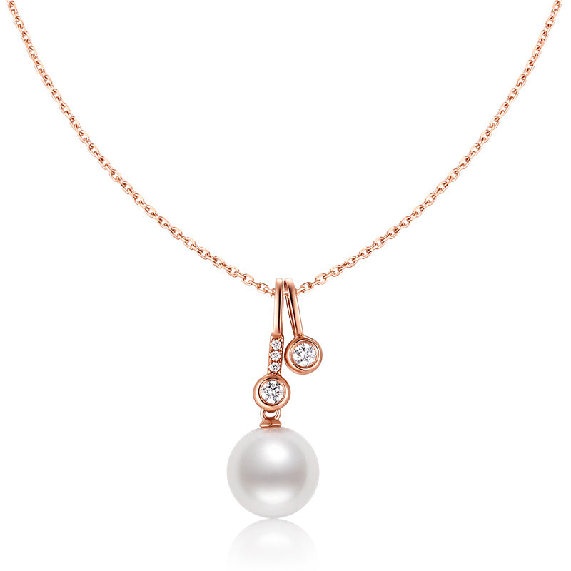18K Rose Gold Diamond Freshwater Pearl Pendant Necklace
