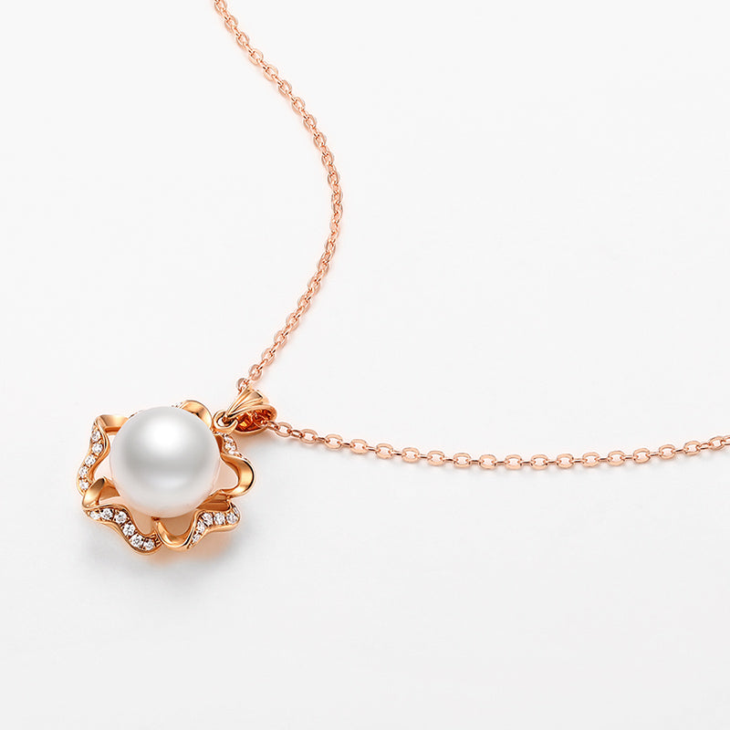 18K Rose Gold Real Diamond Freshwater Pearl Pendant Necklace