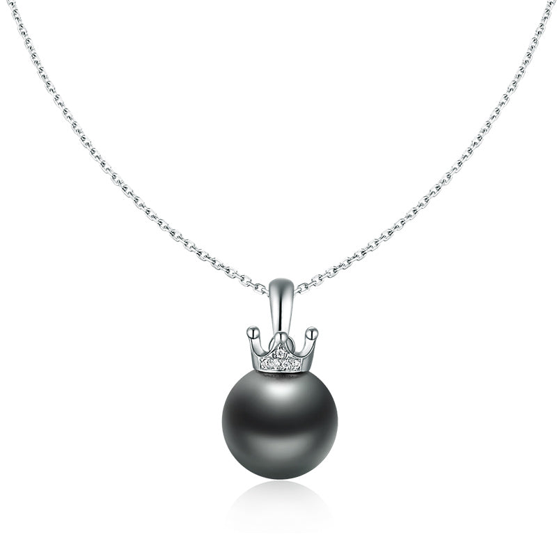 18K Rose Gold Tahitian Black Pearl Pendant Necklace with Diamond