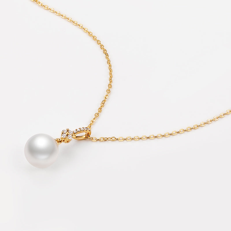 18K Yellow Diamond Freshwater Pearl Pendant Necklace