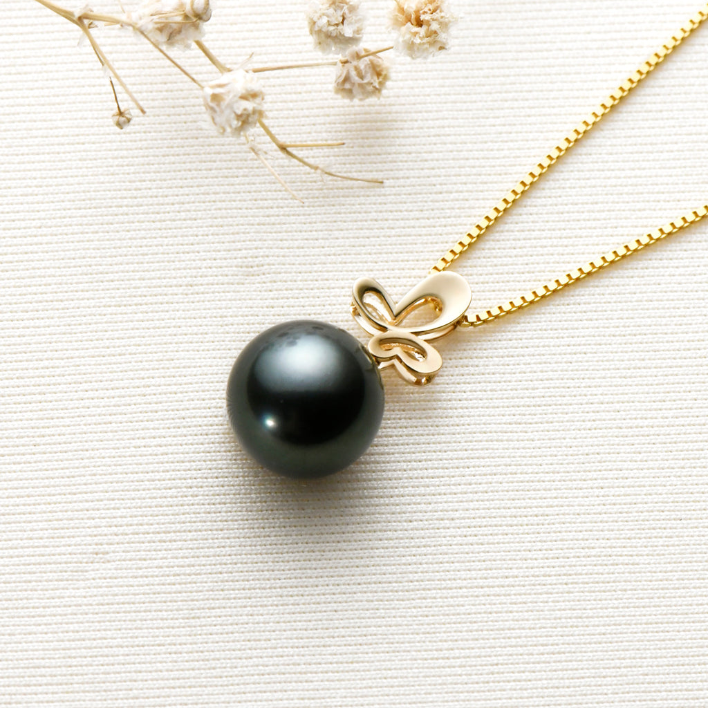 Butterfly 18K Gold Black Tahitian Pearl Necklace with 18'' Chain (Sterling Silver)