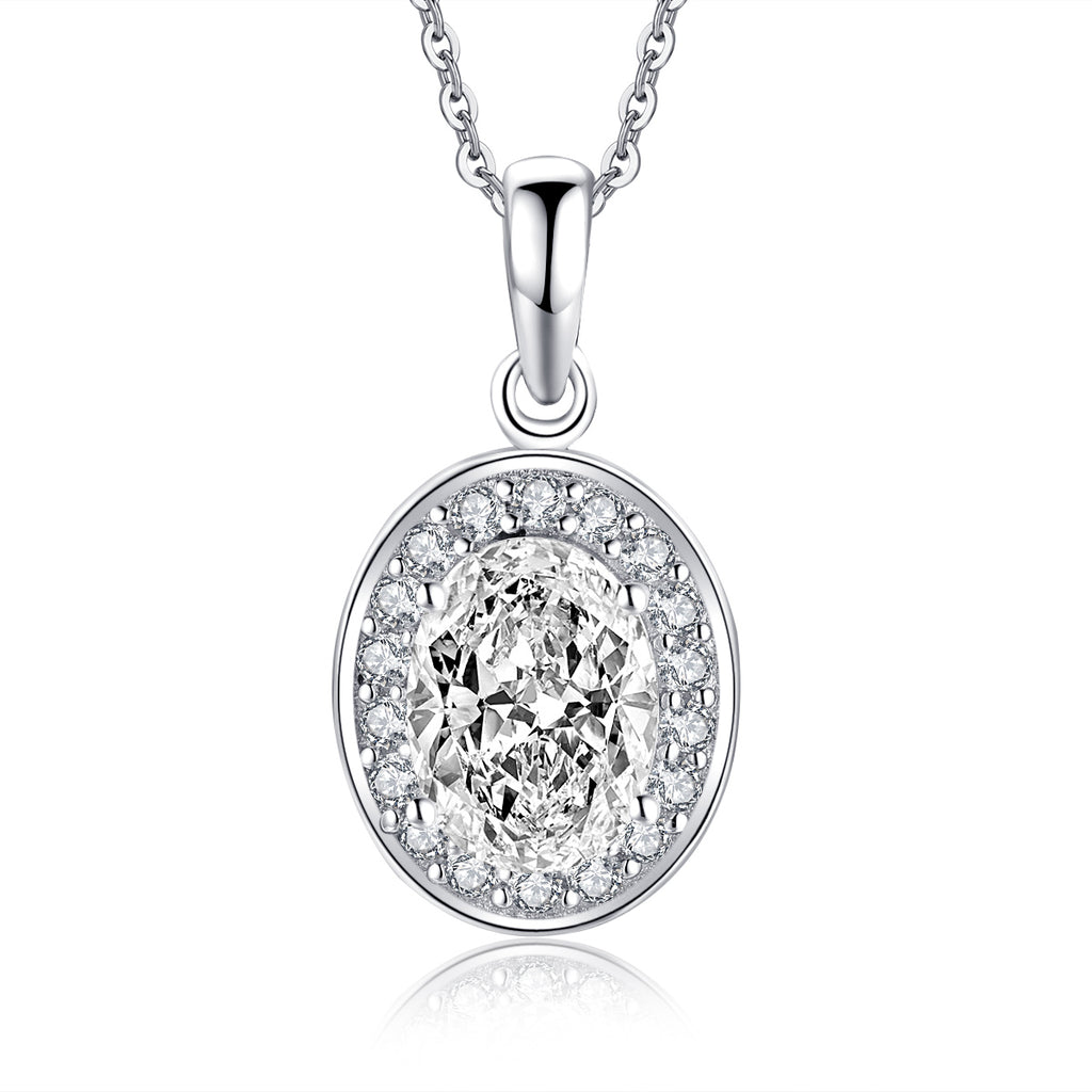Oval Created White Diamond Pendant Necklace