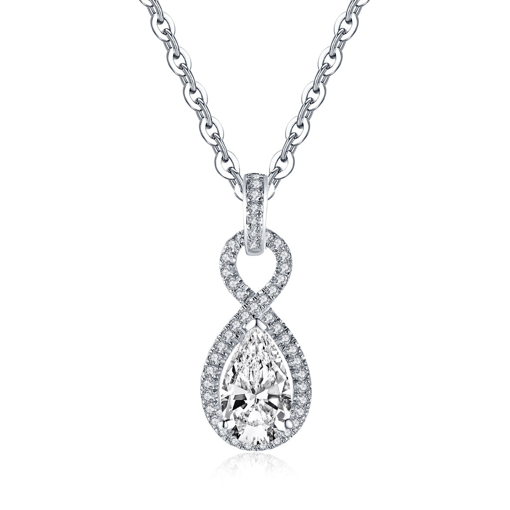 Pear Created White Diamond Drop Pendant Necklace