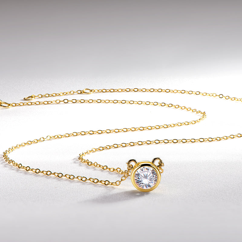 Bezel-setting Round Created Diamond Pendant Necklace