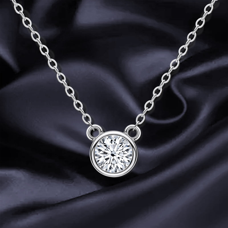 Mouse Solitaire Round Moissanite Pendant Necklace