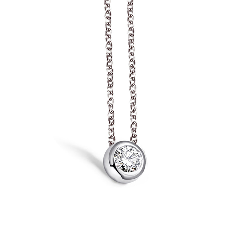 Classic Round Created White Diamond Pendant Necklace