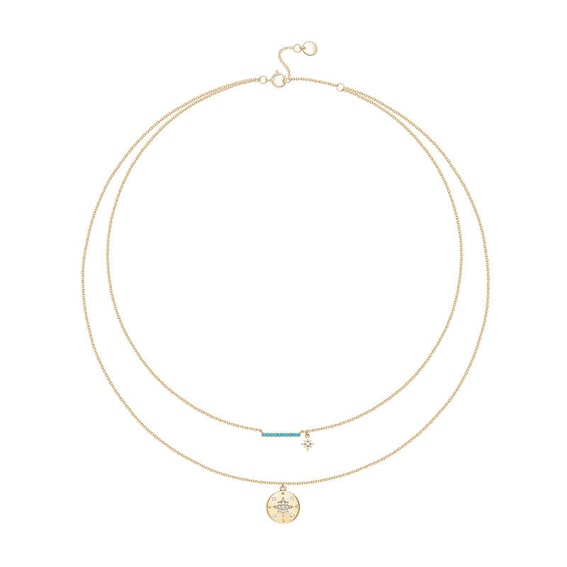 Yellow Gold Color Created White Diamond Compass Necklace