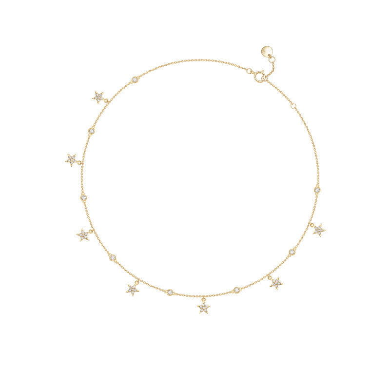 Round Created White Diamond Star Necklace