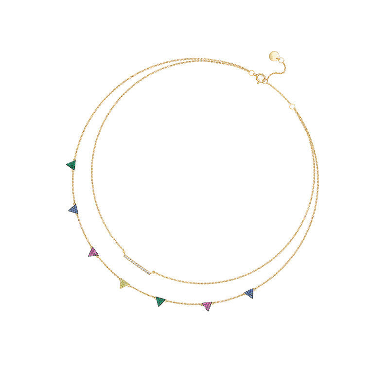 Small Bunting Created Multicolor Diamond Necklace