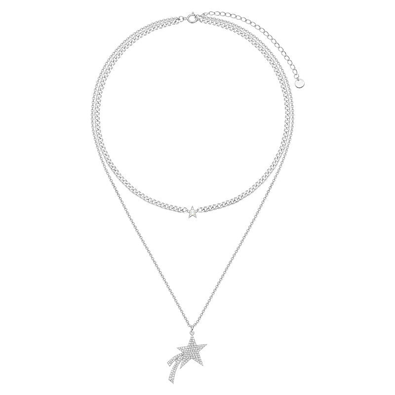 Sterling Silver Double Meteor Created Diamond Necklace